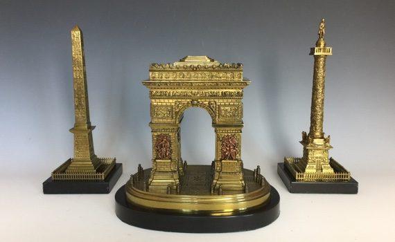 Antique Grand Tour Bronze Arc de TriompheLuxor Obelisk & Vendome Column