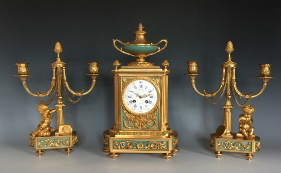 Antique French Gilt Bronze Clock Garniture by Raingo Fres & Masselotte