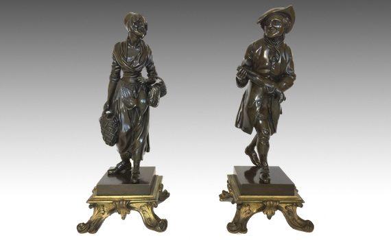 Antique pair of Bronze Peasants In Louis XV Style