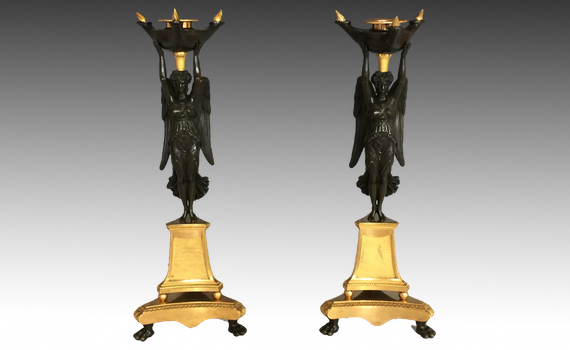 Antique French Empire Gilt Bronze Winged Victory Candlesticks