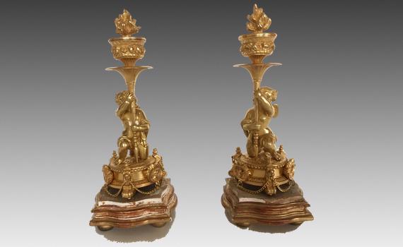 Antique Napoleon III Gilt Bronze Cherub Candlesticks