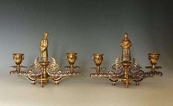 Antique Pair of French Gilt Bronze & Champlevé Candlesticks