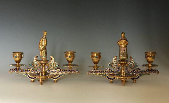 Antique Pair of French Gilt Bronze & Champlevé Candlesticks