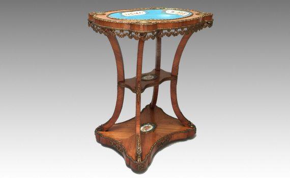 Antique Napoleon III Tulipwood Ormolu Mounted Sevres Porcelain Inset Guéridon