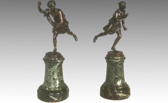 Antique pair of Barbedienne bronzes of 'Hippomene ' & 'Atalante'