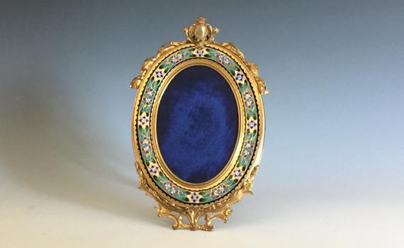 Antique French Champlevé Gilt Bronze Oval Frame