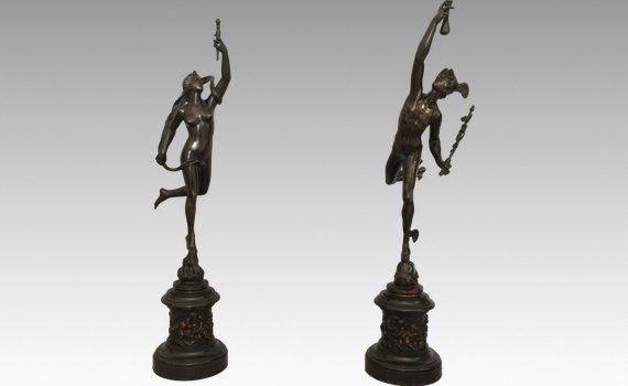 Antique Pair of Italian Bronze Figures of Mercury & Fortuna