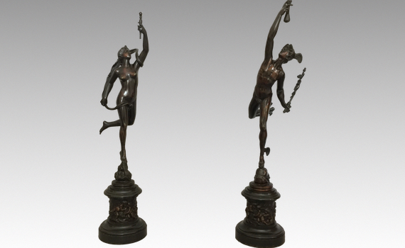 Antique Pair of Italian Bronze Figures of Mercury & Fortuna