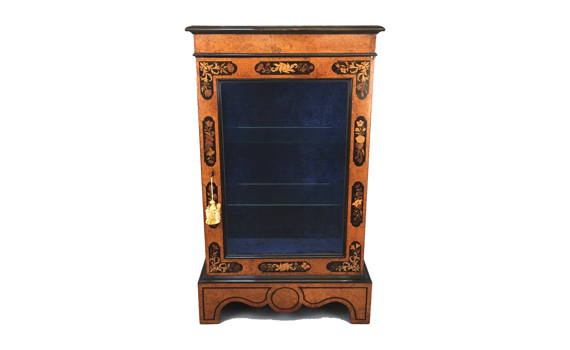 Antique Victorian Amboyna & Marquetry Pier Display Cabinet