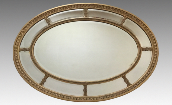 Antique Adam Revival Oval Giltwood Wall Mirror