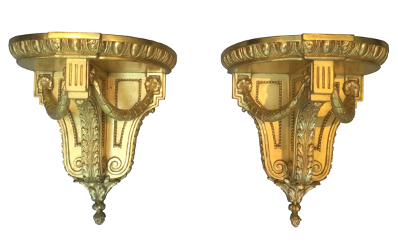 Antique Victorian Giltwood Pair of Brackets