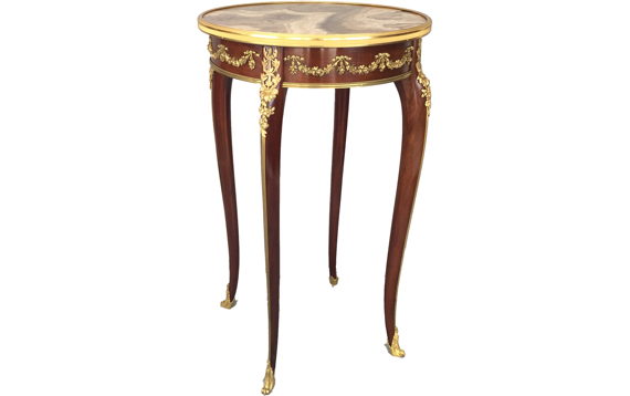 Antique Louis XV Style Mahogany & Gilt Bronze Mounted Side Table attributed to François Linke