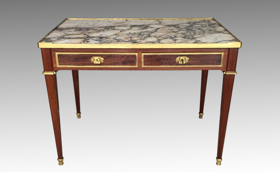 Antique French Mahogany & Marble Topped Centre Table Attributed to Gervais Durand