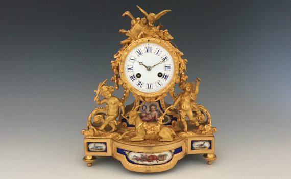 Antique Aubert & Klaftenberger Gilt Bronze & Porcelain Mantel Clock