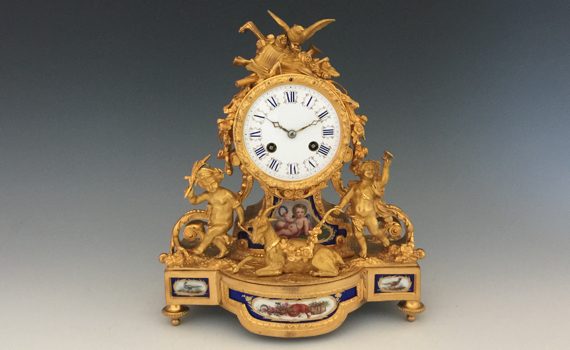 Antique Aubert & Klaftenberger Gilt Bronze & Porcelain Mantel Clock