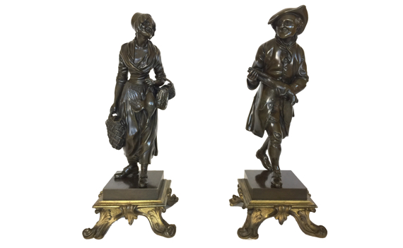Antique pair of Bronze Peasants In Louis XV Style
