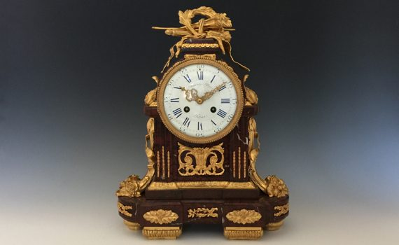 Antique Gilt Bronze & Ormolu Mantel Clock by Raingo Fres in Louis XVI Style