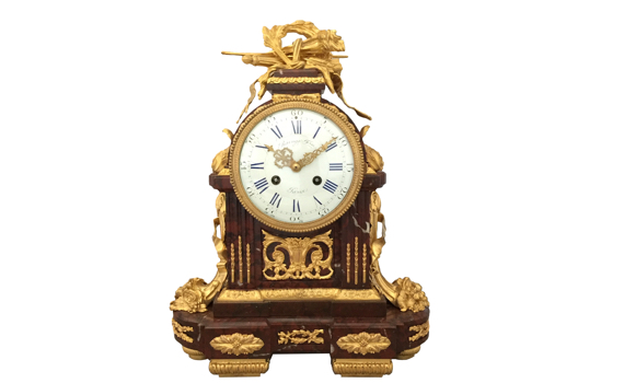 Antique Gilt Bronze & Rouge Marble Mantel Clock by Raingo Fres in Louis XVI Style