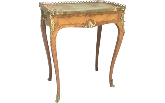 Antique Victorian Tulipwood Kingwood Marquetry & Ormolu Mounted Ladies Writing Table in Louis XV Style