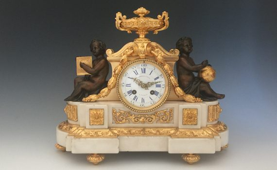 Antique Louis XVI Style Gilt Bronze & Marble Mantel Clock by Henri Picard Retailed by Marshall