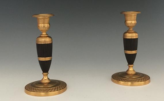 Antique Pair of George IV Ormolu & Bronze Candlesticks