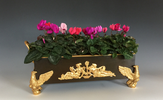 Antique French Napoleon III Empire Style Bronze & Ormolu Table Jardiniere