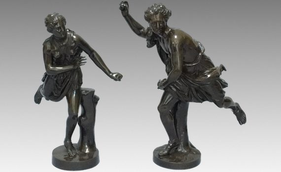 Antique Pair of Late 19th Century French Figures Hippomène & Atalante