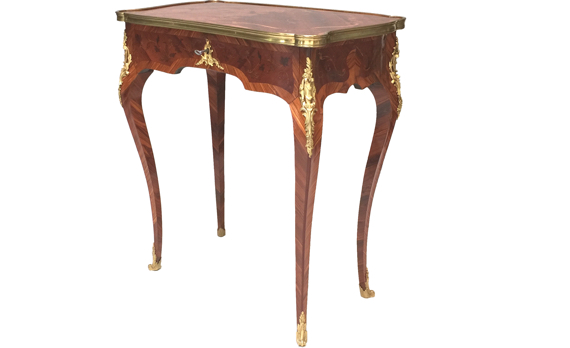 Antique French Kingwood Marquetry Side Table by Millet