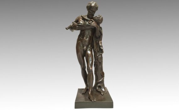 Antique Bronze Figure After The Antique Silenus Holding Infant Dionysus