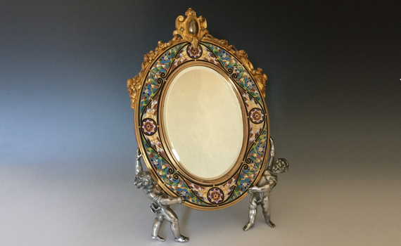 Antique French Champlevé Gilt Bronze Easel Dressing Table Mirror