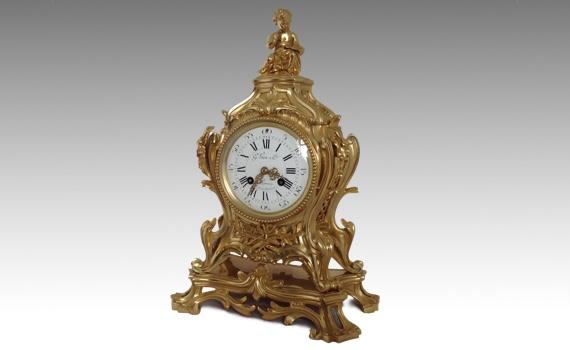 Antique Rococo Louis XV Style Gilt Bronze Clock retailed by G Viot
