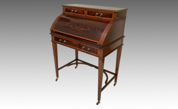 Antique Edwardian Mahogany & Satinwood Crossbanded Bureau