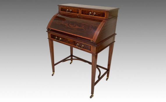 Antique Edwardian Mahogany & Satinwood Crossbanded Bureau
