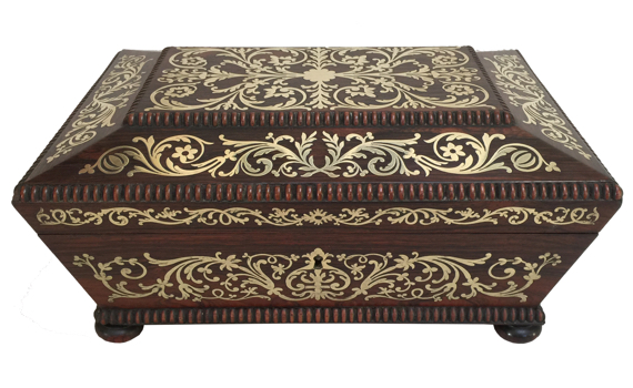 Antique George IV Brass Inlaid Rosewood Sewing Box by Thomas Briggs