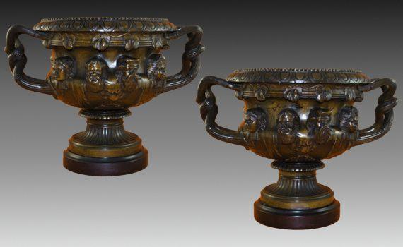 Antique Pair of Large Patinated Bronze Albani Vases