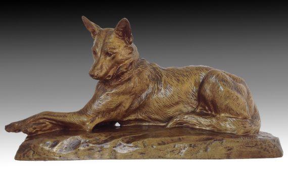 Louis Riché Bronze German Shepherd Dog