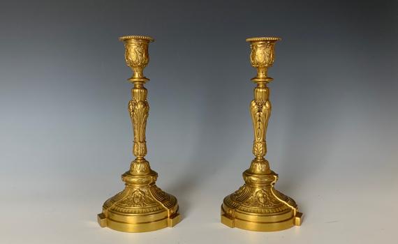Antique Pair of Napoleon III Gilt Bronze Candlesticks