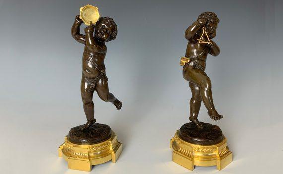 Antique Napoleon III Bronze Figures of Putti After Clodion
