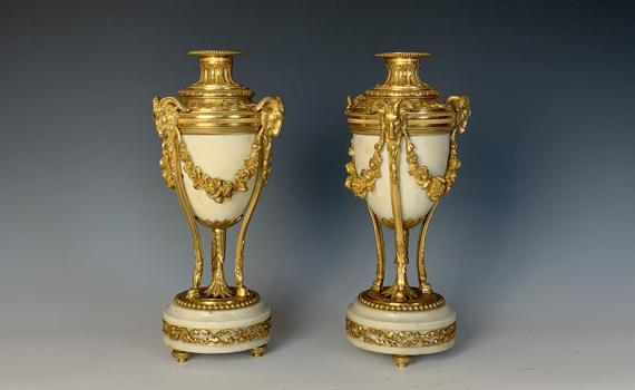 Antique Gilt Bronze & Marble Napoleon III Candlesticks Louis XVI Style