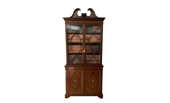 Antique Maples & Co Mahogany Marquetry Inlaid Bookcase