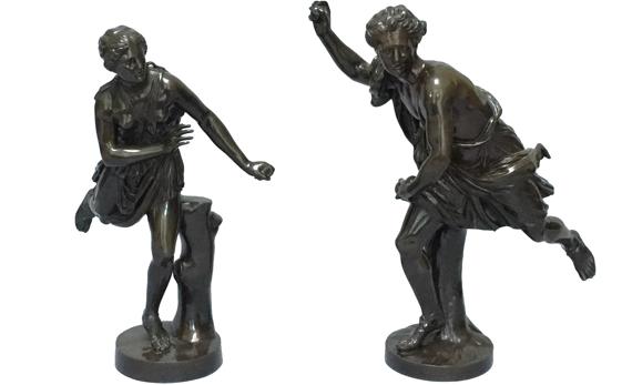 Antique Pair of Late 19th Century French Figures Hippomène & Atalante