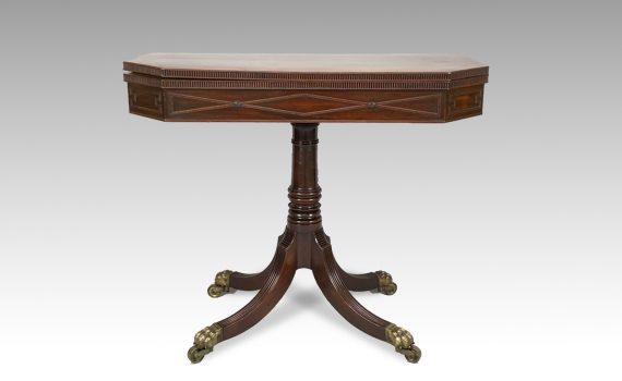 Antique George IV Mahogany Pedestal Card Table