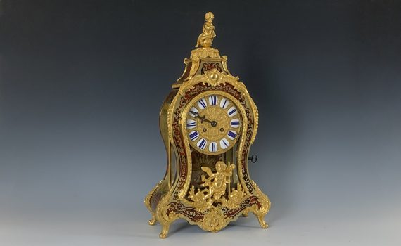 Antique French Napoleon Gilt Bronze Mounted Boulle Clock in the Louis XIV Style