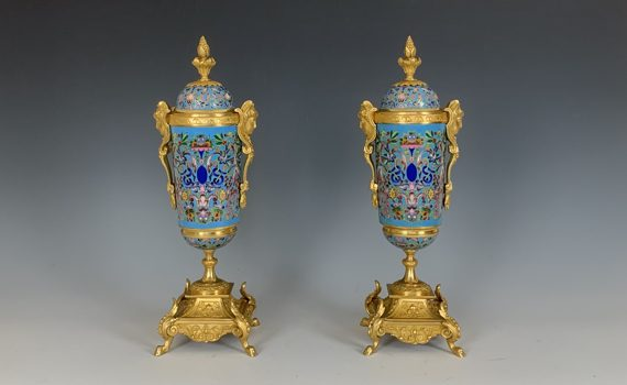 Antique French Champlevé & Gilt Bronze Urns