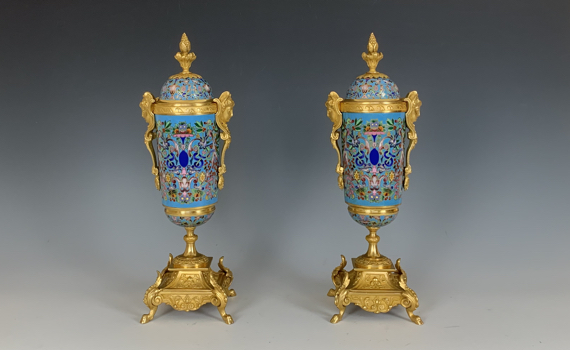 Antique French Champlevé & Gilt Bronze Urns
