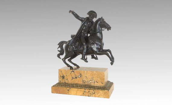 Antique French Equestrian Bronze & Sienna Marble Napoleon on Horseback