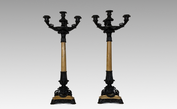 Antique Pair of French Charles X Patinated Bronze & Sienna Marble Four Light Candelabra
