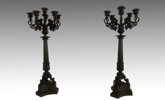 Antique French Charles X Patinated Bronze Six Light Candelabra