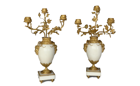 Antique Pair of French Gilt Bronze Mounted Candelabra Louis XVI Style