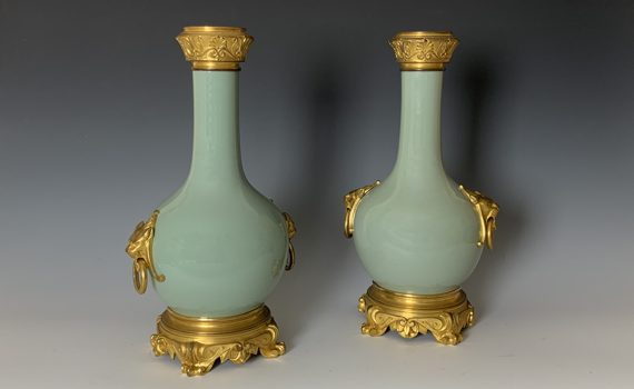 Antique Pair of Chinese Style Celadon Ormolu Mounted Vases